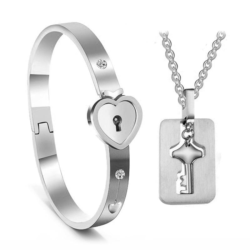 Jewelry-Set Bracelets Lock Necklaces Pendants Gift 2pcs Lover Key Concentric Valentine's-Day-Present