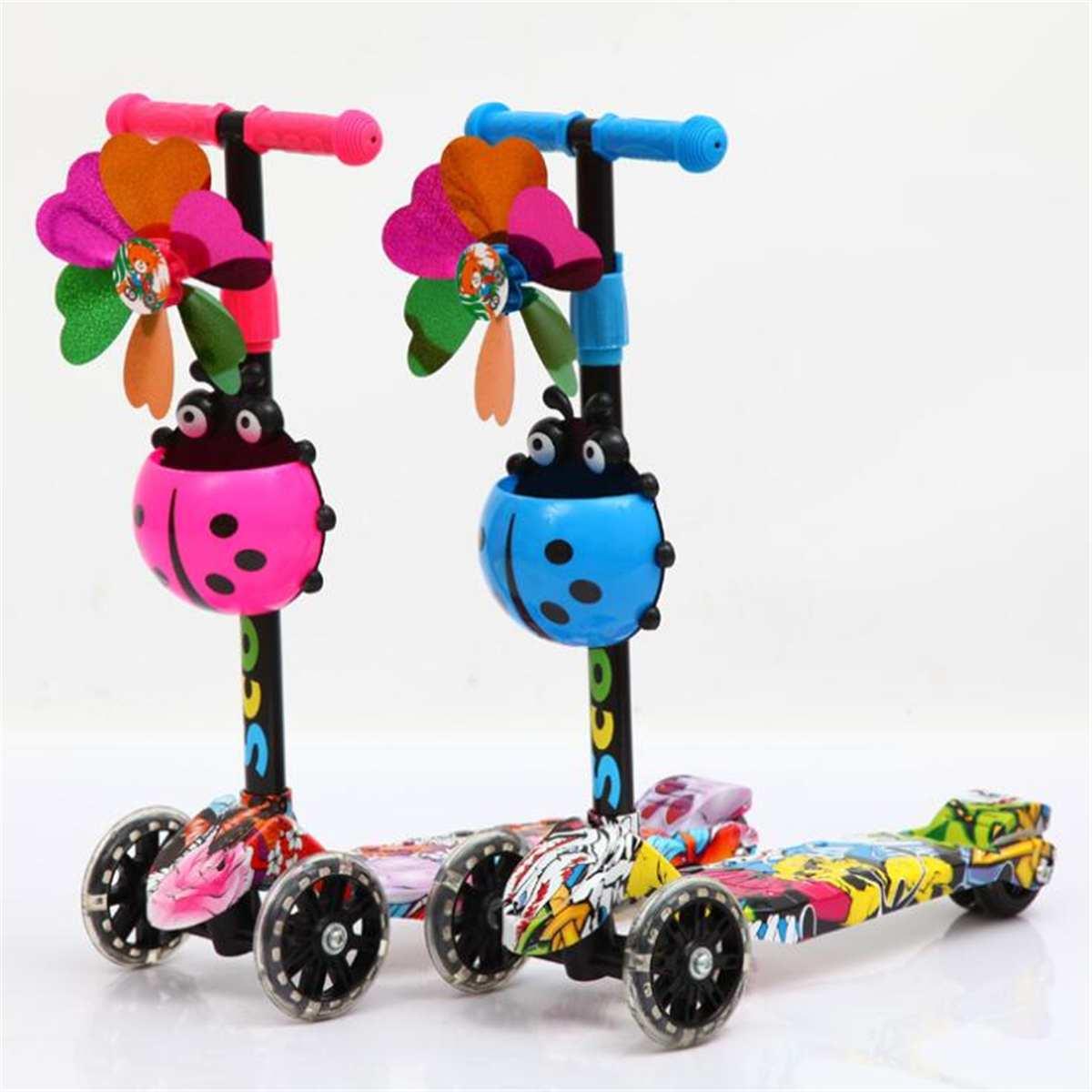 Enfants 4 roues pied Scooters réglable unisexe coup de pied Scooter lumière LED Up enfants ville rouleau Skateboard cadeaux pour enfants rose