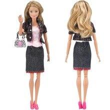 E-TING Ручной Одежды Куклы Повседневная Одежда Экипировка + Сумка + Обувь для Кукол Барби