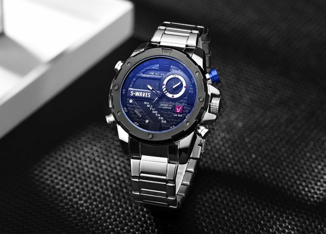 SWAVES Brand Dual Display Watches Men Wach Quartz Sport Waterproof Digital Watch Big Clock Stainless Steel Relogio Masculino 1
