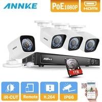 ANNKE 8CH 6MP NVR 1080 P POE IP ИК Камера PoE NVR комплект с 4 шт. 2.0MP Водонепроницаемый IP66 Камера регистраторы Посмотреть видеонаблюдения Системы с 1 ТБ