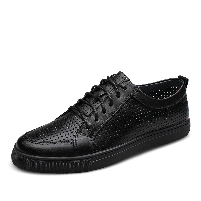 Summer Breathable Mens Skateboarding Shoes Genuine Leather Cut-outs mesh Lace up Outdoor Sport Shoes walking Sneakers ClassicsSummer Breathable Mens Skateboarding Shoes Genuine Leather Cut-outs mesh Lace up Outdoor Sport Shoes walking Sneakers Classics
