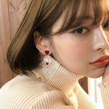 S925  needle Baroque Cross red Love earrings fashion heart Earring Woman crystal chandelier rhinestone
