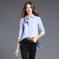 2017 Autumn Women Blue Stripe Embroidered Blouses Long Sleeve Turn Down Collar Blouse Tops Side Split
