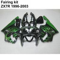 Aftermarket Частей Тела обтекатель комплект для KAWASAKI Ninja ZX7R 96 97 03 Зеленый Пламя Черный обтекатели комплект ZX7R 1996 2003 ot30