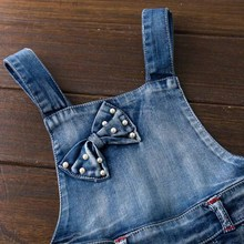 Summer sweet butterfly print Denim Girl Overalls Kids Short Jeans Pants For 12M-6Y Baby clothing set Children's Jumpsuits
