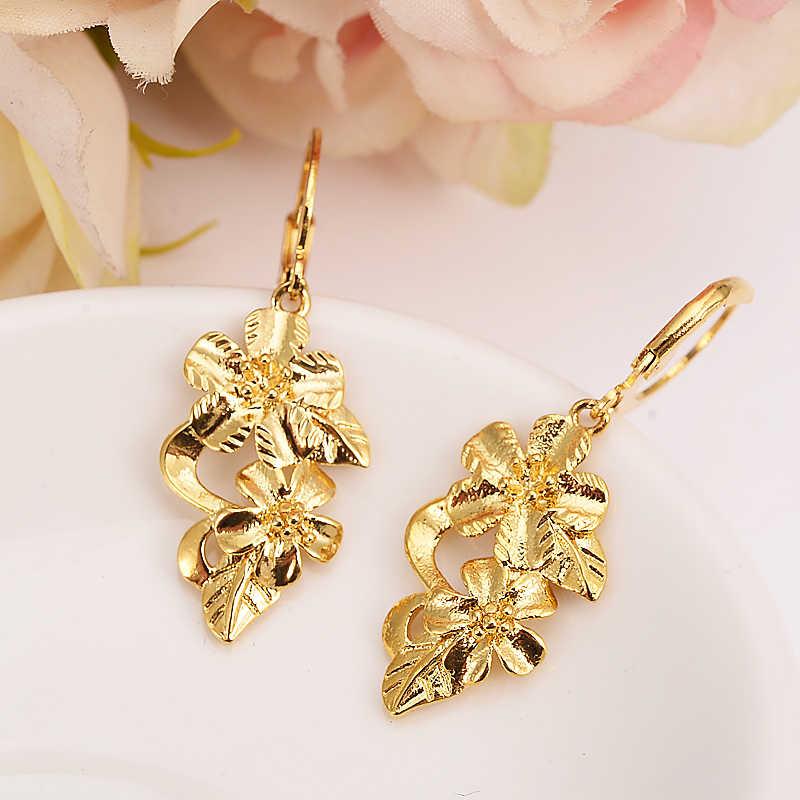 Gold blume tropfen ohrring Äthiopischen/Nigeria/Kenia/Ghana Gold farbe Dubai afrikanische Arabischen Nahen Östlichen Schmuck Mom mädchen Geschenke