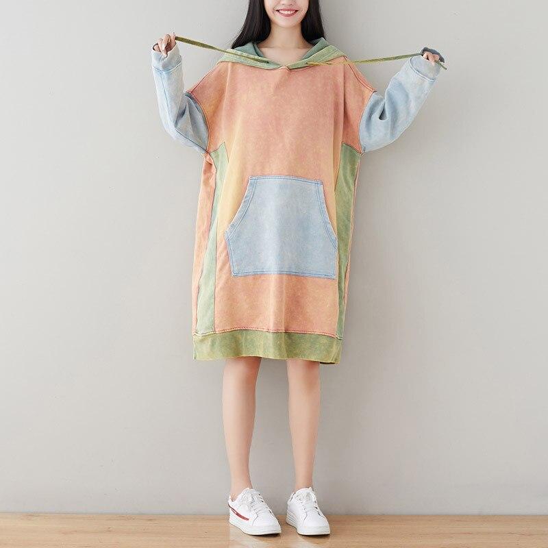 Oversize Robe à capuche japonais Harajuku Patchwork Long Hoodies sweat décontracté tricoté Baggy pulls grande taille rétro Robe
