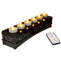 Restaurante Hotel bar decoración recargables té sin llama tealight Candle luminara-6 Ivory unscented ABS vela