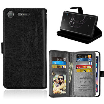 Flip Case for Sony Xperia XZ1 Compact Cover Wallet 9Card Slot Leather Stand Phone Case for Sony XZ1 Compact XZ Premium XA1 Ultra