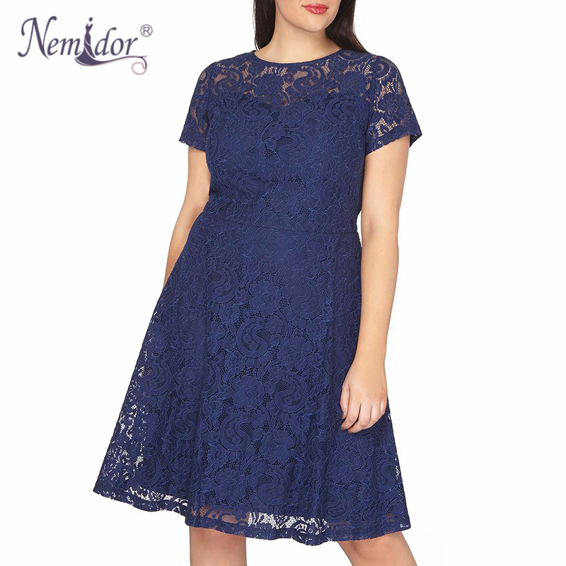 Nemidor Women Elegant Short Sleeve Patchwork Retro Lace A-line Dress O-neck Plus Size 9XL Party Summer Knee Length Swing Dress