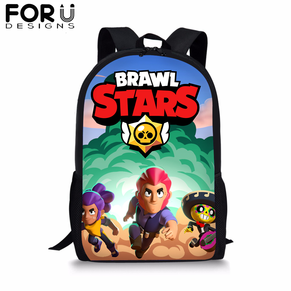 Brawl Stars School Backpack for Teenager Boys Students Black Cartoon BookBag Men 16 inch Notebook Satchel Daypack Mochila 2019 in School Bags from Luggage Bags