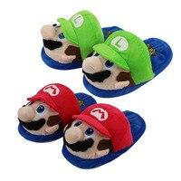 27 cm Super Mario Bros Mario Luigi kırmızı ve yeşil terlik yumuşak pamuk peluş dolması karikatür oyunu ayakkabı için kış kapalı sıcak