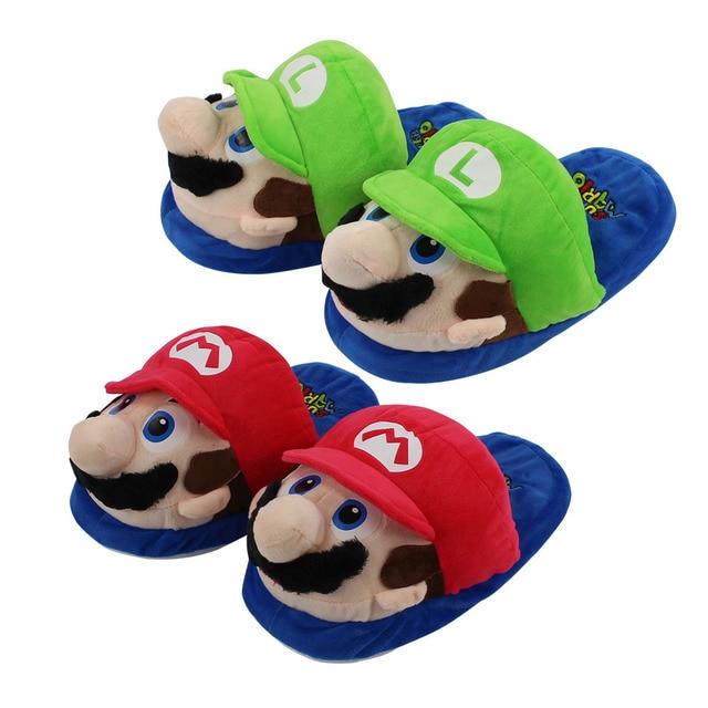 b607e75777c 27cm Super Mario Bros Mario Luigi red and green slippers soft cotton plush  stuffed cartoon game