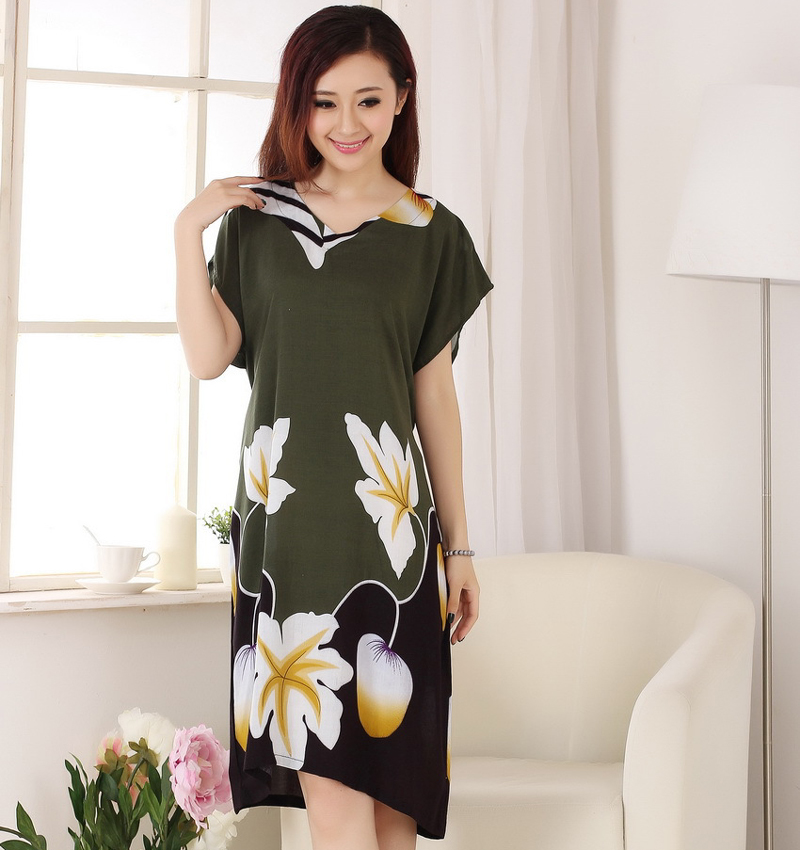 New Style Green Women Summer Cotton Robe Dress Print Flower Nightdress Sexy Sleepwear Novelty Kaftan Bath Gown WR088