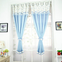 2PCS Pastoral Style Curtain Floral Princess Children Room Curtains for Bedroom Short Cortinas Window Blackout Curtains Valance