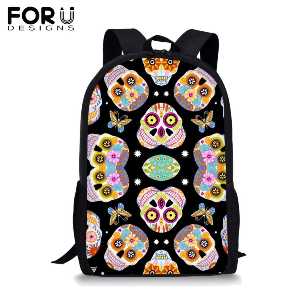 FORUDESIGNS Children School Bags For Girls Boys Cool Skull Printing Teenager Simple Primary Backpacks Students Satchel New 2019