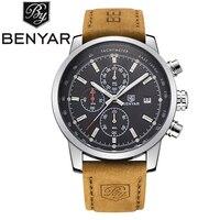 Benyar Brand Men S Sport Watch Top Brand Luxury Male Waterproof Chronograph Quartz Military Leather Wrist