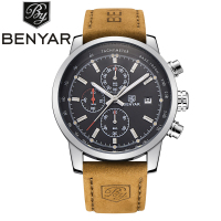 Benyar Brand Men S Sport Watch Top Brand Luxury Male Waterproof Chronograph Quartz Military Leather Wrist