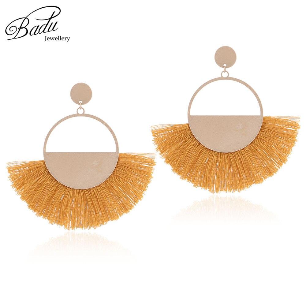 Badu Semi-circle Cotton Tassel Earring Vintage Fashion Hollowing Golden Circle Earrings Women Christmas Jewelry Gift Wholesale