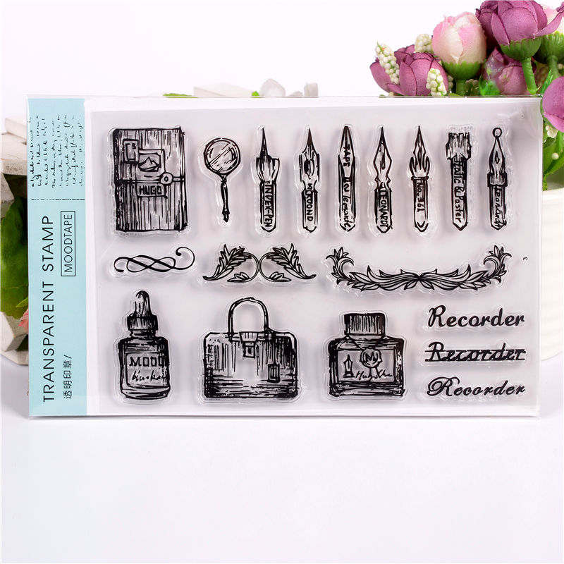 Pen Transparent Clear Stamps for DIY Scrapbooking/Card Making/Kids Christmas Fun Decoration Supplies