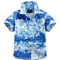 2016 novo chegada de algodão 100% camisa floral camisa havaiana aloha shirt para o menino T1547