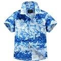 2016 nuevo algodón de la llegada 100% camisa floral camisa hawaiana aloha camisa de chico T1547