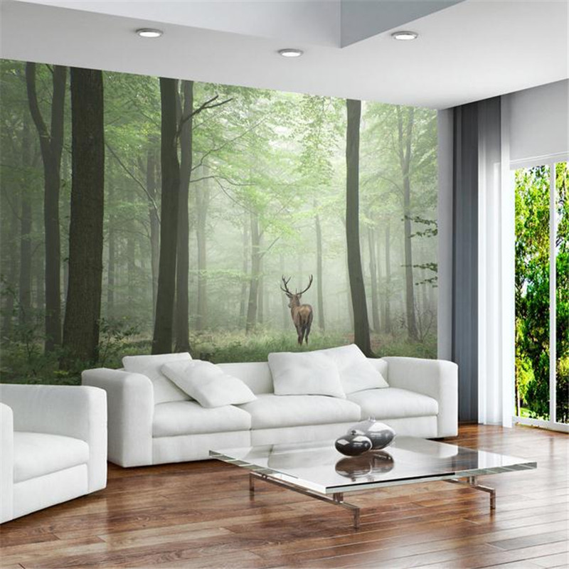 custom modern 3d wallpaper stereo effect simple nordic vintage background wall mural fog elk forest wallpaper for living room free shipping basketball function restaurant background wall waterproof high quality stereo bedroom living room mural wallpaper