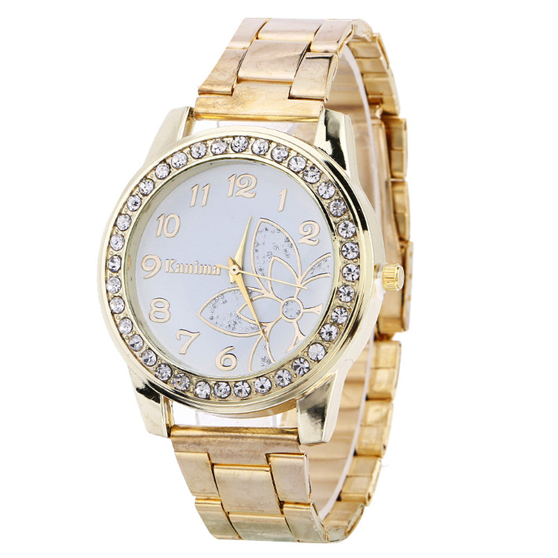 2018 Venta caliente de lujo del diamante mujeres reloj de acero inoxidable deporte cuarzo reloj Dial reloj relogio feminino relojes de plata de oro