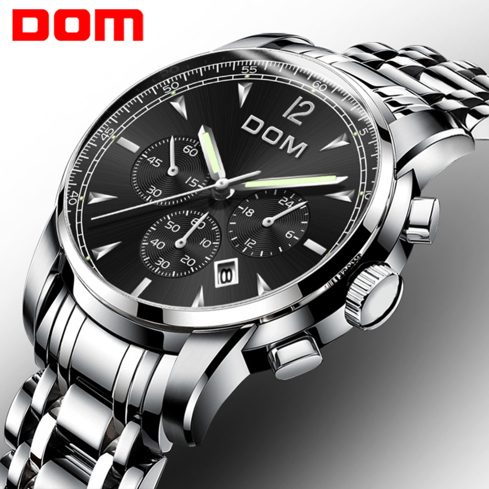 DOM Watches Men Luxury Brand Luminous Wristwatch Men Sports Watches Waterproof Full Steel Quartz Men's Watch Relogio M-75D-1MPE didun watches men luxury brand watches mens steel quartz watches men diving sports watch luminous wristwatch waterproof