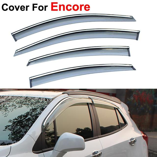 4pcs/lot Sun Rain Shield Covers Awnings Shelters Windows Visors For Opel Mokka Buick Encore 2012 2013 2014 2015 Car Styling