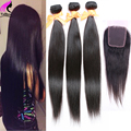 Brazilian Straight Hair With Closure Brazilian Hair With Closure 4 Bundles With Closure Human Brown Natural Hair With Closure