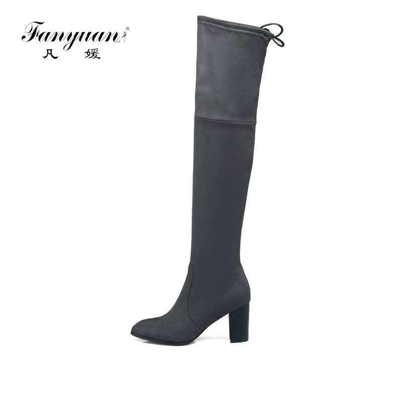 2017 Hot Women Stretch Slim Thigh High Boots Sexy Fashion Over the Knee Boots High Heels Woman Black Gray Wine Pointed shoes