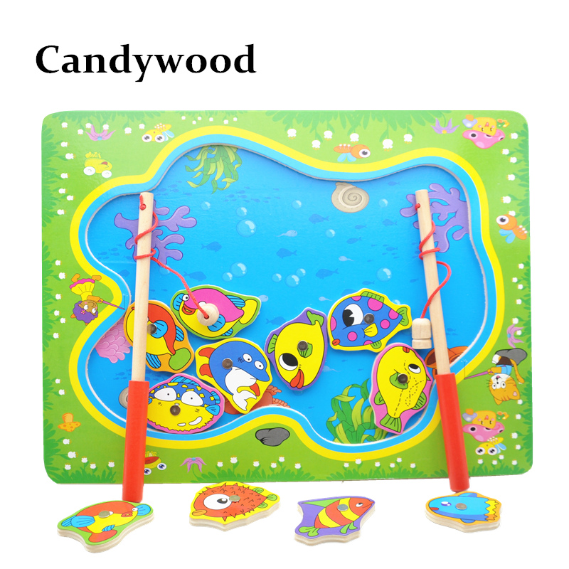 Wooden Magnetic Fishing Game Board Wood Toys Puzzles Baby Educational Toys Boy Kids Children cool educational toys dump monkey falling monkeys board game kids birthday gifts family interaction board game toys for children
