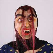 Halloween Mask Party Mask Masquerade Mask Red Hair Bloody Mouth Thick Eyebrows Soft Latex Mask MJ019