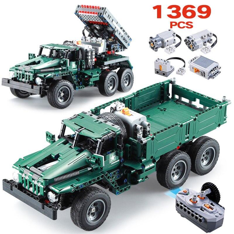 1369 piezas ciudad RC BM-21 cohete torreta De ladrillos De tecnología Legoingly técnica 2 en 1 camiones De escalada fuera De carretera bloques de construcción de juguete para niño