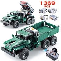 1369pcs City RC BM 21 Rocket Turret De TECH Bricks Legoingly Technic 2 in 1 Off Road Climbing Trucks Building Blocks Toy For Boy