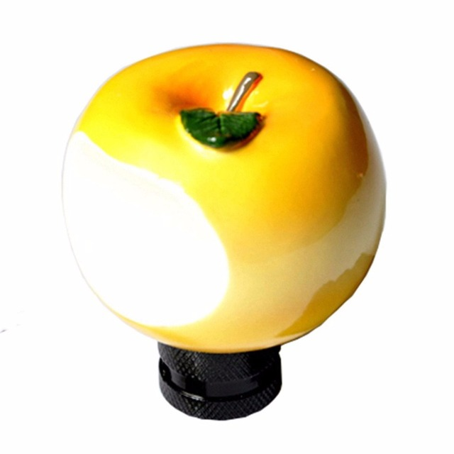 XYIVYG Universal fit Automotive Cool Yellow  Apple Shape Manual Or Automatic MT MOMO  Gear Shift Lever Knob