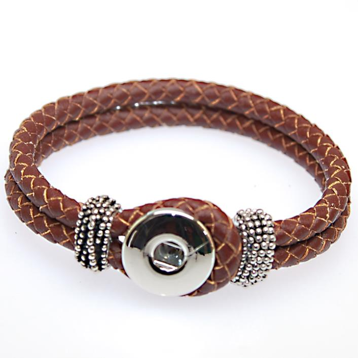 Diy Interchangeable Geniune Braided Leather Wrap Charm Bracelet Fits 18mm Snap Sutton Charms For Making In Bracelets From Jewelry
