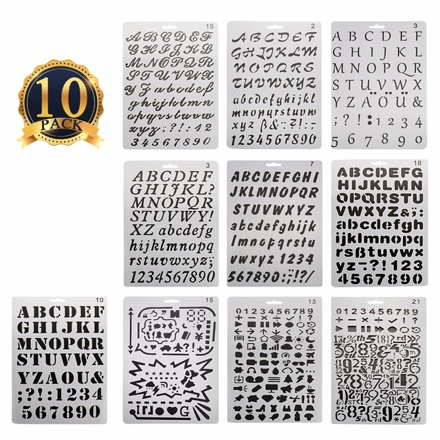10pcs set bullet journal stencil alphabet stencil letter cake