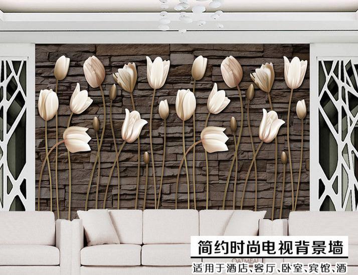 Customized Photo Wallpaper 3d Wall Murals TV Wallpaper Flower Murals Tulip Europe Type Restoring Ancient Ways Setting Wall Decor