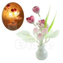 New Mini Tulip Soft Romantic Sensor Home Decor Night Light Baby Bed Room Lamp
