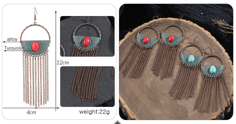 Vintage Bronze Geometric Women's Earrings Jewelry 2019 Long Metal Tass