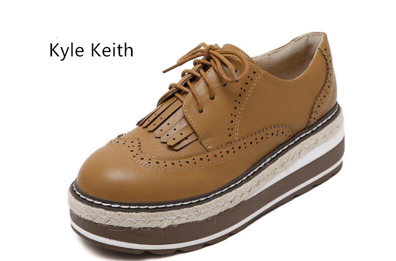 Kyle Keith Hot Sales Fashion Platform Shoes Brogue Shoes Woman Brown Color Platform Women Oxfords British Style Creepers keith rosen coaching salespeople into sales champions