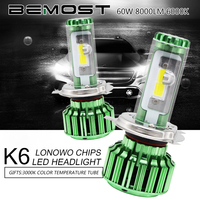 BEMOST K6 H4 9003 HB2 Hi Lo Auto Super Bright Led Headlight Bulbs 60W 8000LM Car