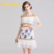CHARAS brand Sexy Lace dress women's Hollow Out embroidery Beach Short Spaghetti Strap Off Shoulder Student girl dresses
