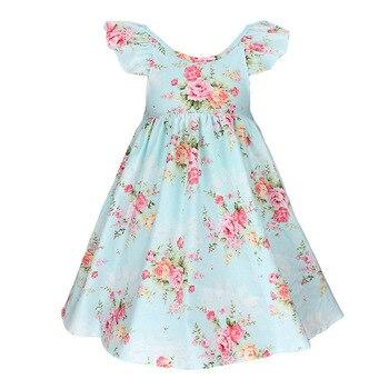 424c42f71 6150 flores princesa Party Floral impresiones niña vestidos primavera otoño  niños vestidos para niñas bebé al por mayor ropa lote
