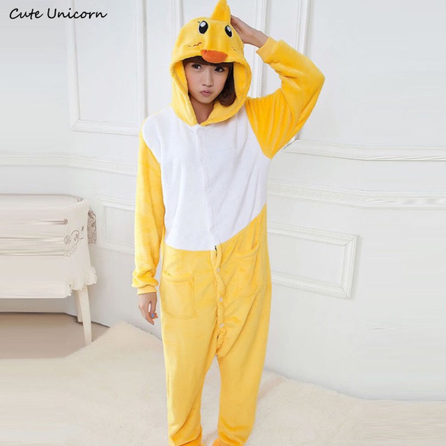 396a5c44bfbb Animal Pajamas Yellow Duck Cosplay Onesies Adults Jumpsuit Cartoon ...