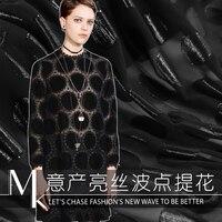 Retro noble temperament silk georgette fabric perspective wave point jacquard silk fabric wholesale silk cloth
