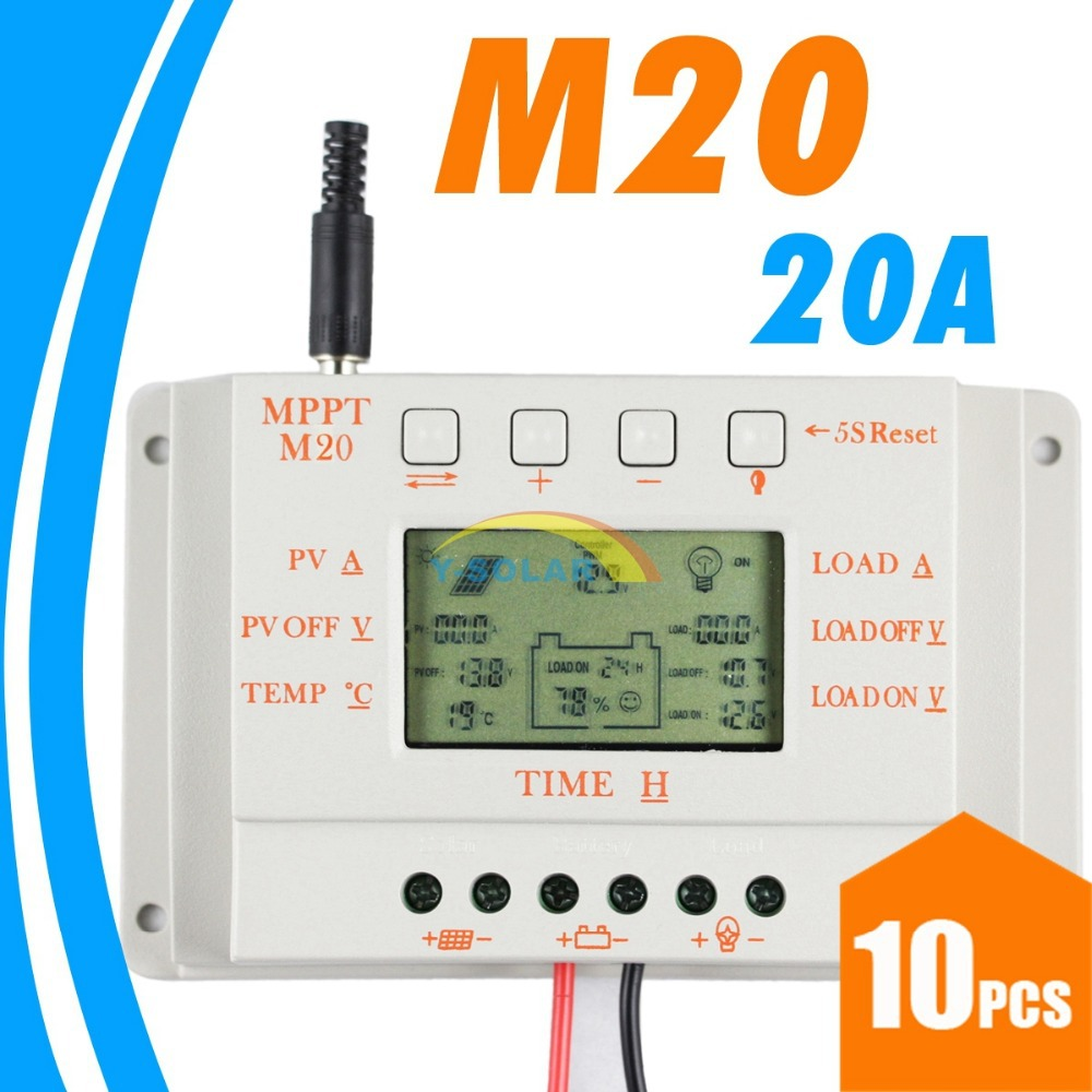 10PCS 20A LCD Solar Charge controller MPPT20 12V 24V Auto Work Solar Panel battery Cells Charger Controller for Solar PV System 20a daul battery solar charge controller duo battery charge controller 12v 24v solar panel battery charger for rv boats golf